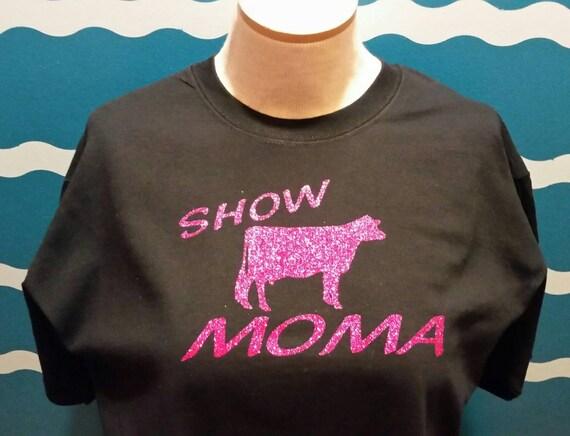 Custom dairy show mom shirt - livestock show mom shirt - dairy cow mom shirt - dairy graphic tee -  sparkling dairy cow mom t-shirt