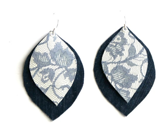 BillieJean - Denim & Leather earrings - Leaf shaped and multilayered