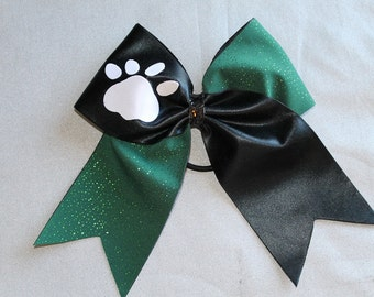 Cheer Bow, Green Black and white paw print