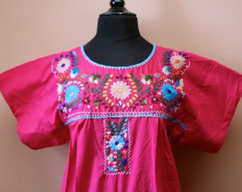 Frida Style Colorful Mexican Dress with Embroidered Flowers- Pink- Summer-BOHO-Hippie