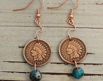 Indian Head Penny Earrings, Handmade
