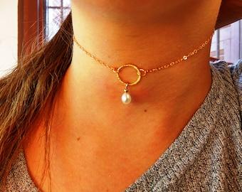 Gold round chocker, Simple necklace, Collar neckalce, Gold chocker,Pearl Gold collar, Yello gold filled, Unique chocker, Dainty collar, love