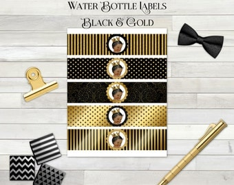 Water Bottle Labels | Black & Gold | African American Little Prince | Digital Instant Download