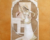 """Gopal Kumawat Painting on Paper, """"The Virahini."""" Rare Painting from the Legend."""