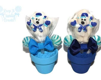 Mini Polar Bear Lollipop Arrangement, Polar Bear Candy Favor, Stocking Stuffer, Winter Holiday Party Favor, Gift Idea, Polar Bear Birthday