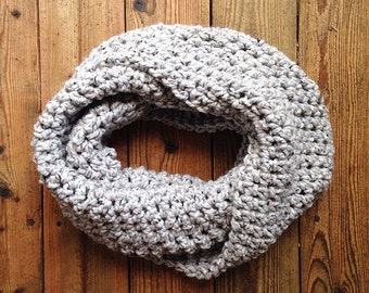 Infinity Scarf - grey with black and brown flecks
