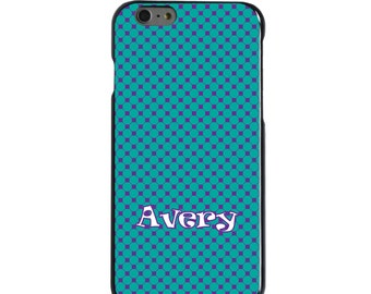 Hard Snap-On Case for Apple 5 5S SE 6 6S 7 Plus - CUSTOM Monogram - Any Colors - Purple Teal Check Pattern