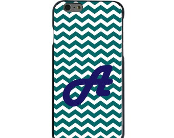 Hard Snap-On Case for Apple 5 5S SE 6 6S 7 Plus - CUSTOM Monogram - Any Colors - Teal Chevron Blue Initial