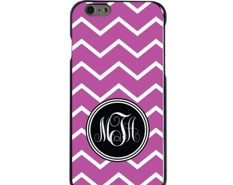 Hard Snap-On Case for Apple 5 5S SE 6 6S 7 Plus - CUSTOM Monogram - Any Colors - Pink White Chevron Initials