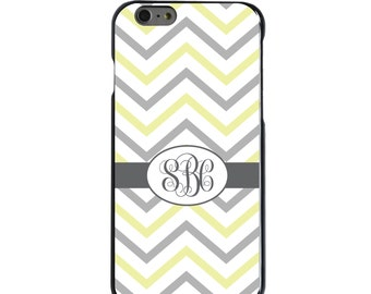 Hard Snap-On Case for Apple 5 5S SE 6 6S 7 Plus - CUSTOM Monogram - Any Colors - White Grey Yellow Chevron
