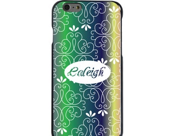 Hard Snap-On Case for Apple 5 5S SE 6 6S 7 Plus - CUSTOM Monogram - Any Colors - Purple Green Blue Yellow Pink Floral
