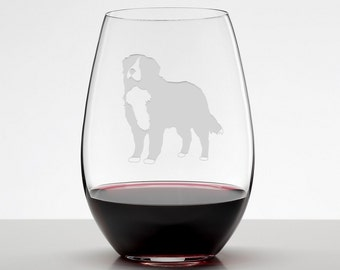 Bernese Mountain Dog, Bernese Mountain Dog Glass, Berner, Etched Stemless Wineglass