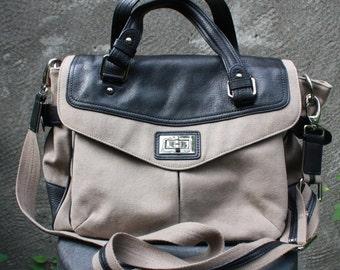 Vintage HALOGEN Genuine Leather and Canvas Tan/Black Large Shoulder Bag, Cross body bag