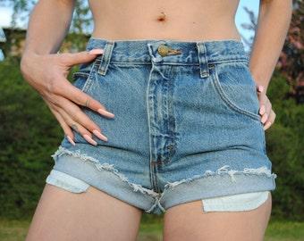 Medium Wash Cuffed High Waisted Shorts