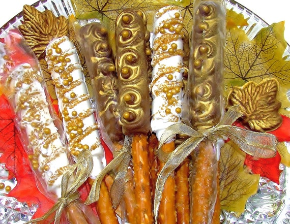 Gold Chocolate Covered Pretzel Rods Rustic Wedding Favor