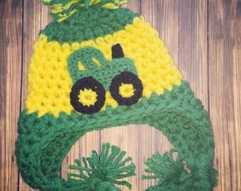 Green Tractor hat, Inspired John Deere crochet hat