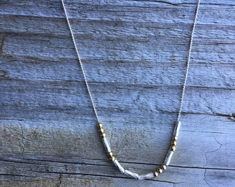 Mixed metal custom Morse code necklace