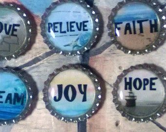 Six Inspirational Words (Hope,Believe,Love,Dream,Joy,Faith) on Silver Bottle Caps Magnets