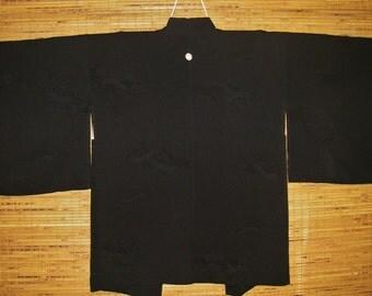 HAORI SILK Vintage Japanese Haori Mon Crest Woven Clouds Genji Wheel Black Silk One Mon Crest Haori Kimono Jacket Japanese Black Silk Haori