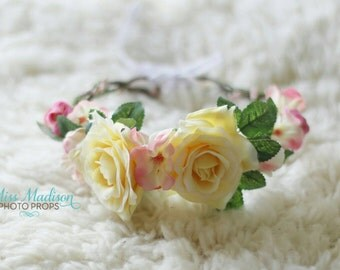 FLOWER CROWN/ HALO/ Head Wreath/ Bridal/ Photography Prop, Woodland Grapevine Floral Crown Yellow Cream & pink