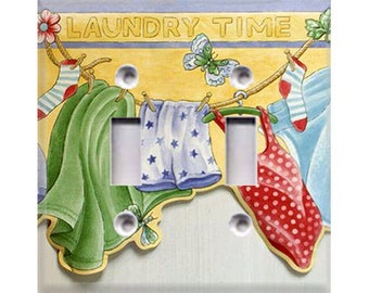 Laundry Time Double Light Switch Cover