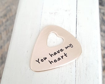 Hand stamped Guitar pick custom you have my heart open heart personalized pick bronze