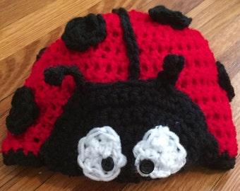 Handmade Labybug crochet baby hat