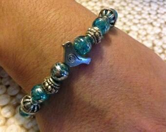 Handmade Bracelet for the Larger Wrist/Turquoise