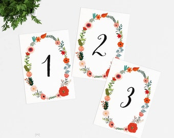 Printable Table Number Cards - Floral Garden Wedding Table Numbers Printable - Wedding Reception - Number 1 to 20 - (Item code: P889)