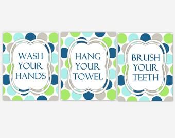 Kids Bath Wall Decor Navy Blue Green Bathroom Rules Wall Art Brush Your Teeth Wash Your Hands Kids Bath Decor Bath Rules Wall Decor Kid Bath