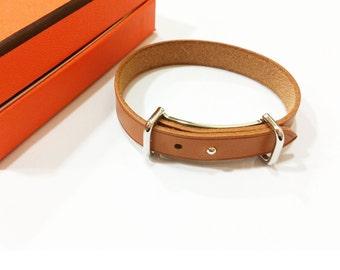 Authentic Hermes Palladium cuff Loop Leather Bracelet