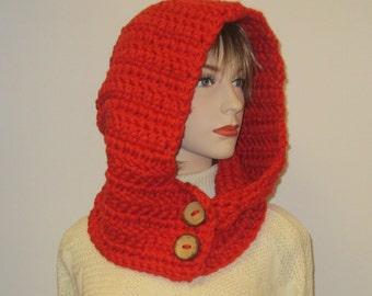 Reddish Orange Hooded Scarf, Large Cowl, Reddish Orange Hooded Cowl, Scarf with Hood, Winter Knit Scarf, Caroline B4-089