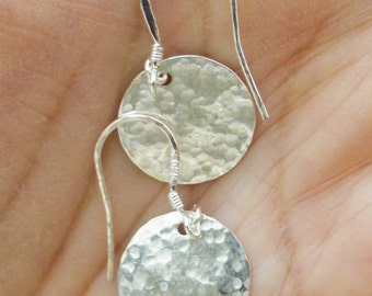 Gorgeous Bright Shiny Silver Hammered Disc Dangle Earrings