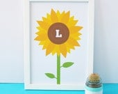 Personalised Initial Sunflower A4 Charity Art Print
