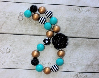 Teal black and gold necklace chunky bubblegum bead necklace for girls birthday necklace flower girl necklace