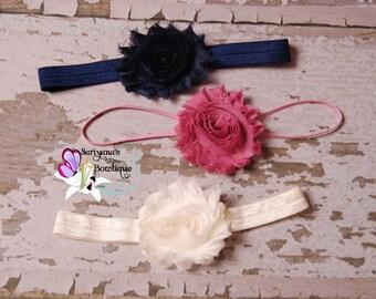 Baby Toddler Girl Woman Headband Set, Shabby Flower Headband, Navy Blue Mauve Dusty Rose Ivory - SBst-006