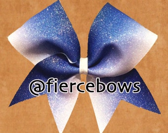 Navy to White Ombre Glitter Cheer Bow