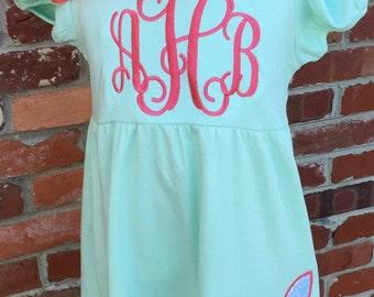 Easter Dress, bunny applique, monogram dress Sz 12 month to 12