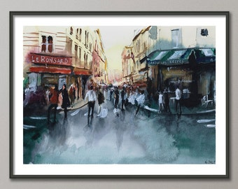 Paris Painting, Parisian crowd, Watercolor, Poster France, Giclee print , Modern wall art