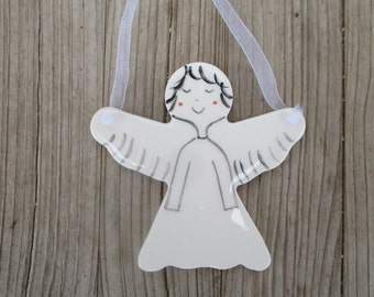Angel,Pottery Guardian Angel,Birthday Gift,White,Minimalist Angel,Angel,Gift for Daugther,Angel for Mom,Get well gift,Godmothers Gift