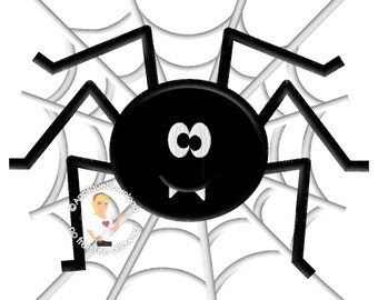 Cute Spider on Web - Halloween Applique Design - Instant EMAIL With Download - for Embroidery Machines