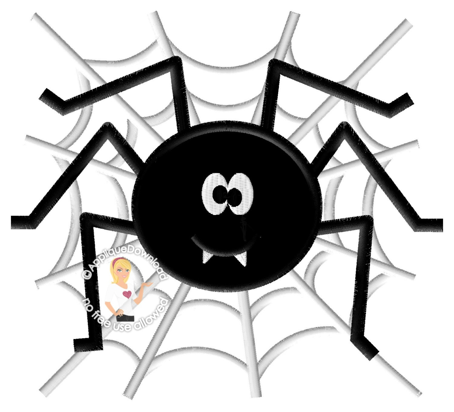 Cute Spider on Web Halloween Applique Design Instant EMAIL