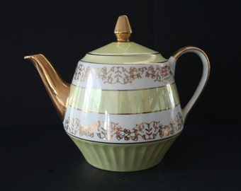 Athens Gibsons Staffordshire Teapot, Yellow Gold Made in England Teapot, Vintage Porcelain Teapot, Ceramic Metallic Gold