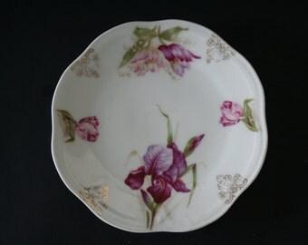 Z.S. & Co Bavaria Porcelain Plate, Purple Iris Plate, Bread Butter Pate, Zeh Scherzer Co ZSC346 Mignon Pink Purple Flower Plate 1880-1910