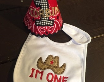 SHOP SALE I'm One Cowboy Birthday Hat and Bib