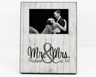 Elegant Wedding Gift Mr. & Mrs. Custom Photo Frame Rustic Wood Look Custom Bridal Shower Gifts Personalized Mr and Mrs 8 x 10 w/ 4 x 6