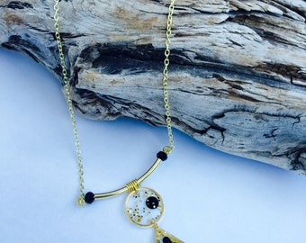 Resin Necklace, Gold Necklace, Handcrafted necklace