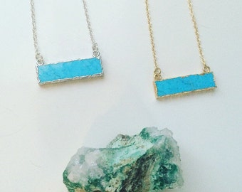 Bar Necklace, Turquoise, Howlite