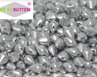 50 pcs Silky Metallic Mist Czech Glass Spiky Button Beads 4.5x6.5 mm (10393)