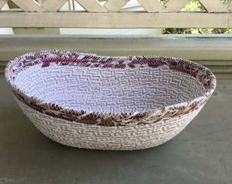 Tribal pattern oblong fabric bowl